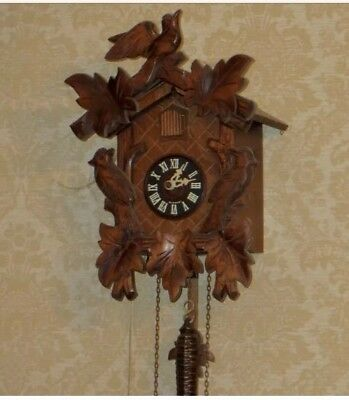 """German 2 Weights Driven Carved Wood Case Cuckoo Clock GWO 9.5"""" L7.5""""W"""