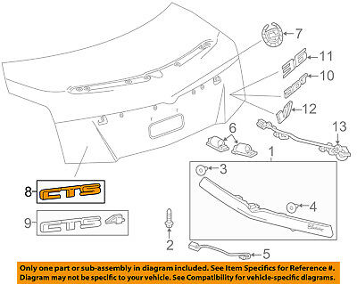 Rear GM Genuine 25765400 Compartment Lid Vehicle Name Plate