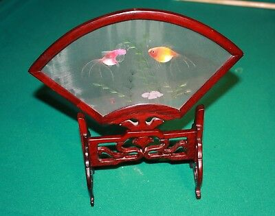 Antique Chinese Embroidered Fish Silk Fan Wooden Display