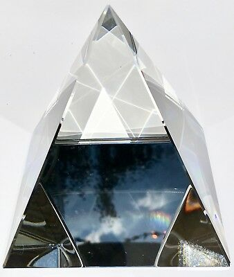 "HUMONGOUS RARE CRYSTAL GLASS PYRAMID PRISM 100mm RAINBOWS 4"" BEST PRICE ON EBAY"
