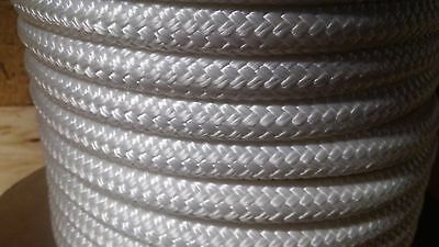 """5/8 """" x 100 ft. Double Braid~Yacht Braid Polyester rope hank.White.Made in USA."""