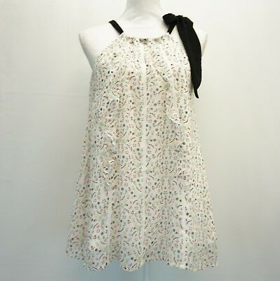 592dedfb8d CR by Cynthia Rowley Womens Top XS White Floral Print Bow Halter Blouse