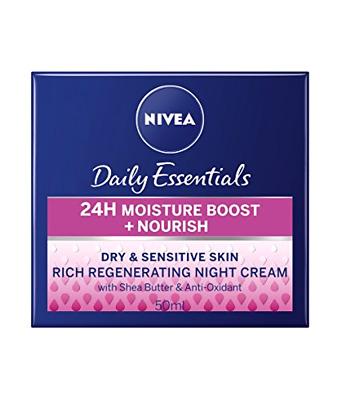 **NIVEA Face Night Cream for Dry and Sensitive Skin, 50 ml, Pack of 3**