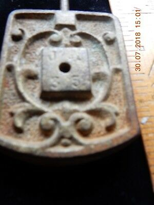 Vintage Cast Iron Clock Weight - Stamped J G With Nos: 3 And 5