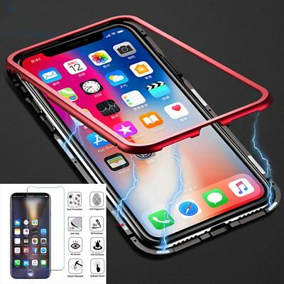for iPhone X 7 8 Plus Magnetic Metal Full Body Case Cover Glass Screen Protector