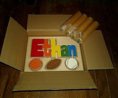 New In Box Baby Wooden Name Stool Ethan Sport Blocks New Ababy Name Nursery