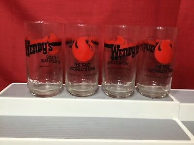 Set of 4 Vintage 1982 Worlds Fair Wendy's Glasses - Excellent Condition!!