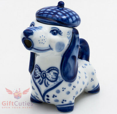Porcelain Gzhel teapot of Dog dachshund or Bloodhound handmade in Russia