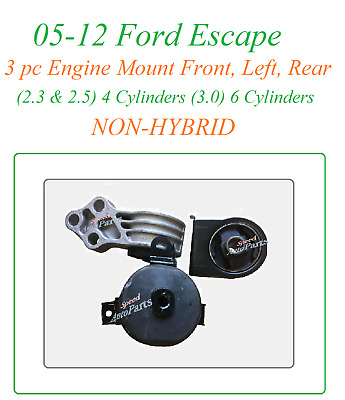 3PC MOTOR MOUNT FOR 2005-2012 FORD ESCAPE 3.0L 2.5L 2.3L NO HYBRID FAST SHIPPING