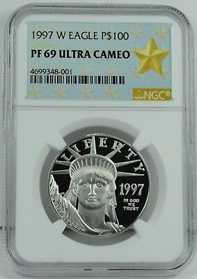 1997-W $100 Platinum Eagle Coin 1 oz. Platinum NGC PF69 Ultra Cameo - First Year
