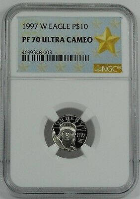1997-W $10 Platinum Eagle Coin 1/10 oz Platinum NGC PF70 Ultra Cameo-First Year