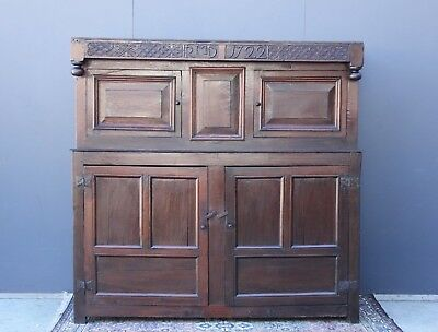 Early 18th Century Welsh Court Cupboard.  Circa 1722.