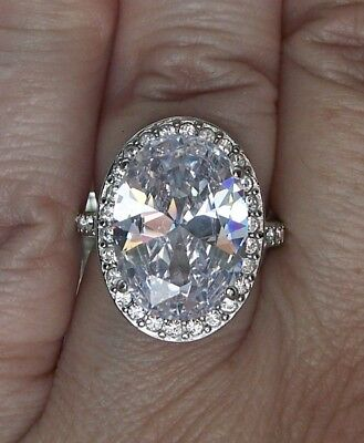 STAINLESS STEEL Huge Oval Cut AAA Grade Cubic Zirconia Halo Ring-Sizes 5-10