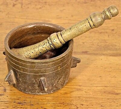 Large heavy antique solid bronze mortar and pestle  5.5kg bowl original patina