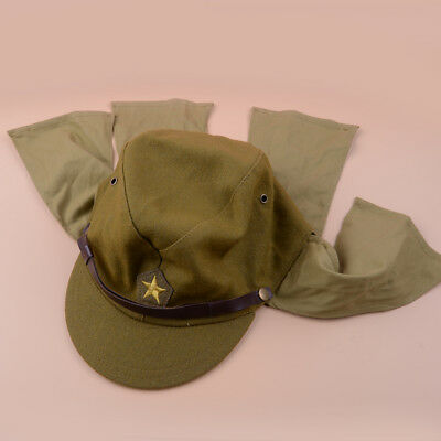Green Wool World War II Japanese Army Soldier Hat Cap Military Costume Accessory
