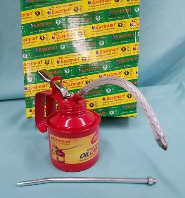 EASTMAN 1/2 Pint Metal Oil Can Straight & Flexible Spout Nozzle Pump Brand-new