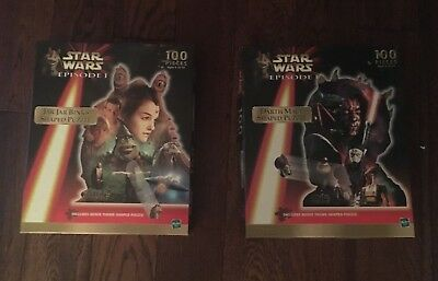 Set of 2 Star Wars Episode I 100 Piece Puzzles-Jar Jar Binks & Darth Maul (1999)