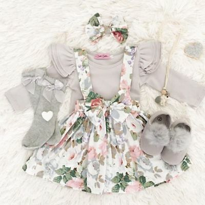 Newborn Infant Baby Girls 3pcs Clothes Rompers Bodysuit Floral Skirt Outfits Set