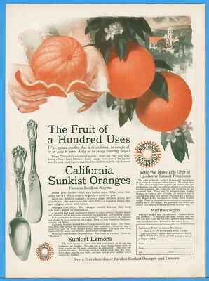 1915 California Sunkist Oranges Wrappers Wm Rogers Flatware COLOR Print Ad