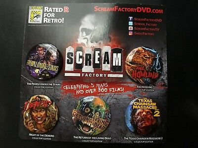 SDCC 2017 EXCLUSIVE Scream Factory Button Set of 5! Living Dead Texas Chainsaw