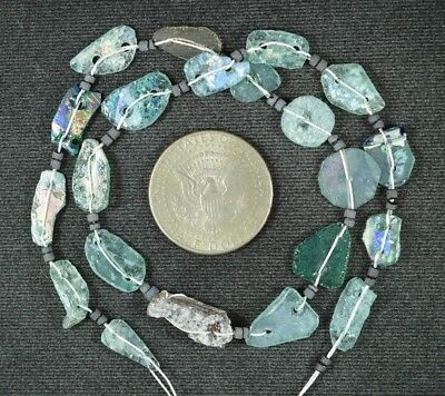 Ancient Roman Glass Beads 1 Medium Strand Aqua And Green 100 -200 Bc 942