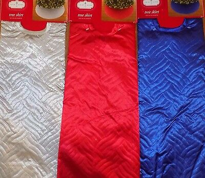 "NEW - 48"" Silver OR Red 'Quilted' Christmas Tree Skirt NWT - FREE SHIPPING"