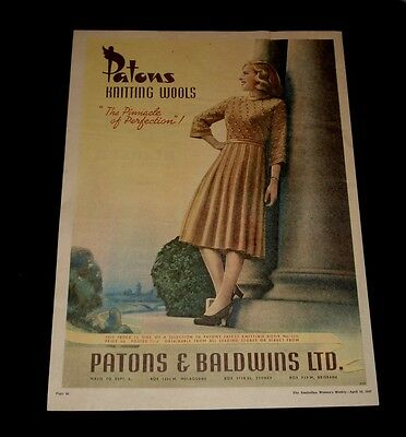PATONS KNITTING WOOLS 1940s FULL PAGE COLOUR PRINT  AD ORIGINAL