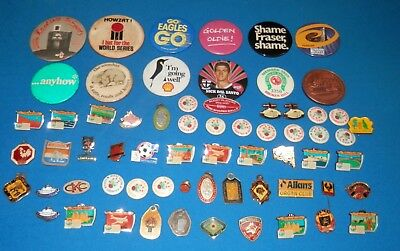 Lot of 65 Mixed Badges, Pins, Medallions etc. - Sport, Advertising, Vintage
