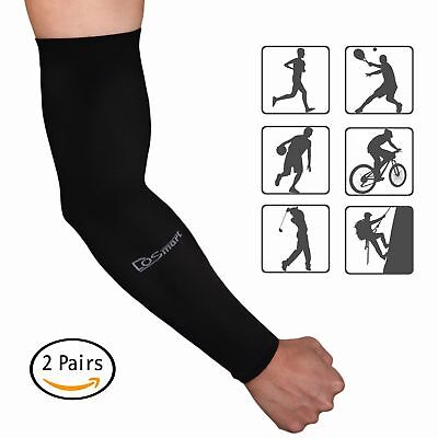 DoSmart Black Silk UV-Protection Unisex Cooling Arm Sleeves For Outdoor(2 Pairs)