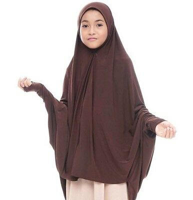 Dark Brown Kids Maryam Instant Hijab One Piece Amira Slip On Scarf Abaya