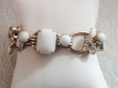 Vintage D&E Juliana White and Clear Wire Over Rhinestone 5 Link Bracelet