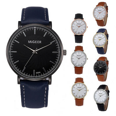 Mens Quartz PU Leather Strap Wrist Watch Casual Analog Line Retro Men Boys Watch