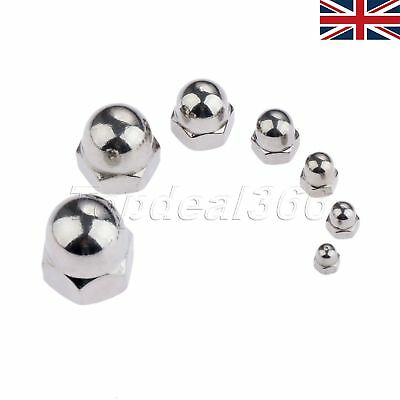UK Stock Stainless Steel Metric Hex Domed Nut Acorn Cap Nuts M3 to M12 10pcs