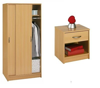 FUSION SMALL SLIDING WARDROBE 1 Shelf  On Top & Down Hanging And BEDSIDE IN BEEC