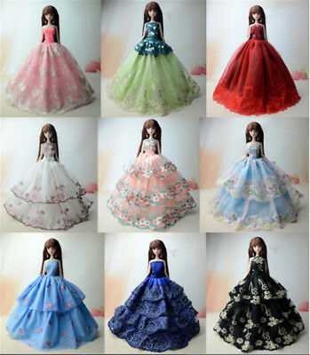 5X Handmade Wedding Dress Party Gown Clothes Outfits For Barbie Doll Kids Gift~