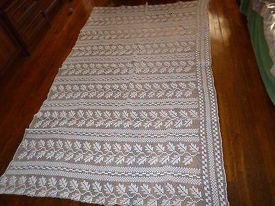 VTG Hand Made White Crochet Large Curtain/Beadspread/Table Cloth