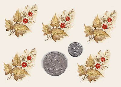 """5 x Waterslide ceramic decals Decoupage Red flowers Floral 2 1/4"""" x 1 3/8  PD633"""