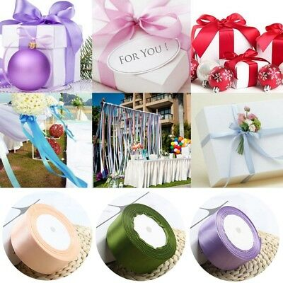 22m 40mm Reels of Coloured Satin Ribbon Wedding Rolls all Widths Double Sided