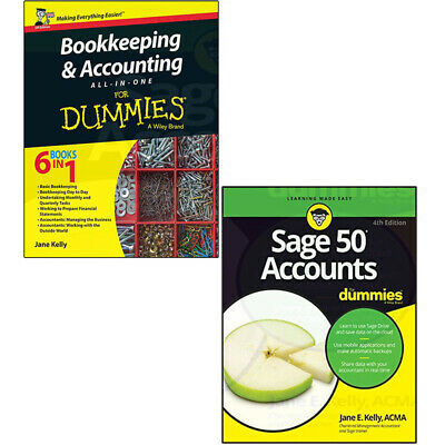 Jane E Kelly 2 Books Collection Set Bookkeeping Accounting Sage 50 Accounts NEW