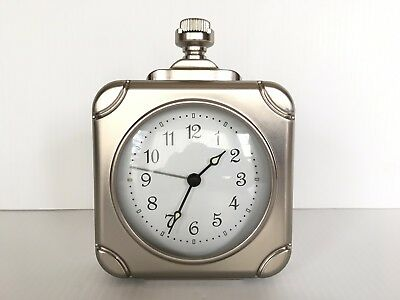Pottery Barn Square Pocket Watch Clock Pewter New In Box Sold Out At Pb Rare
