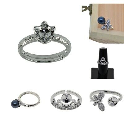 Silver Plated Adjustable Open Ring Pearl Cabochon Setting Women Finger Ring