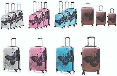 Butterfly Hard Shell 4 Wheel Spinner Suitcase PC Luggage Trolley Case Cabin Bag