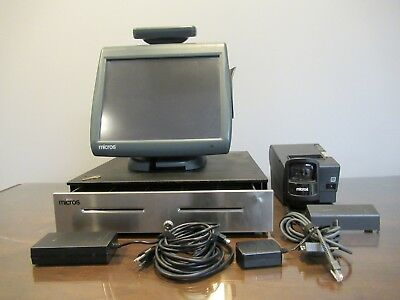 Micros POS WS5A WS5 System Touchscreen Cash Drawer Workstation 5 Printer Scanner