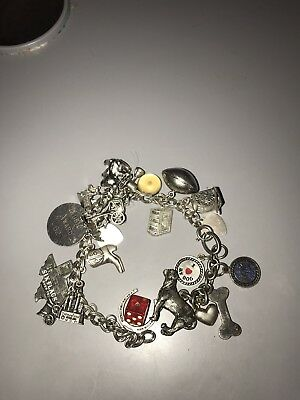 "50s 60s Antique vintage 25 charm bracelet, some move 9"" sterling silver"