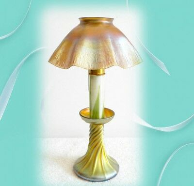 Tiffany table lamp gold Favrile electric candlestick  - marked LCT
