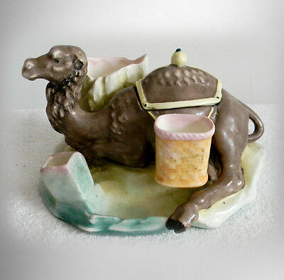 Majolica vintage tobacco, cigarette and matches humidor - camel figure