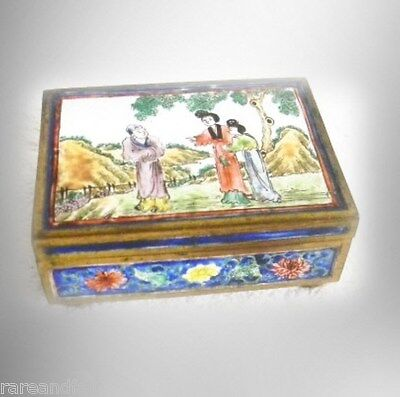 Qian Long vintage gilt metal and enamel box with figural scenes