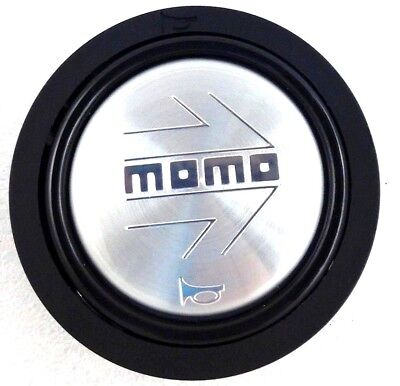 Genuine Momo brushed aluminium arrow steering wheel horn push button (small)