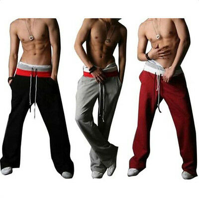 Mens Sports GYM Long Pants Tracksuit Track Bottoms Jogging Casual Train Trousers