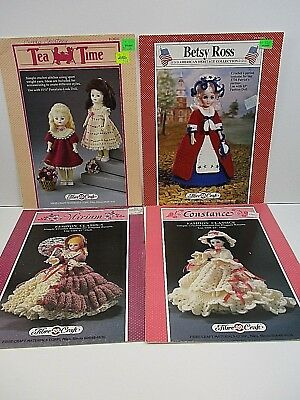 Fibre Craft Lot Of 34 Doll Crochet Pattern Leaflets Pillow Bed